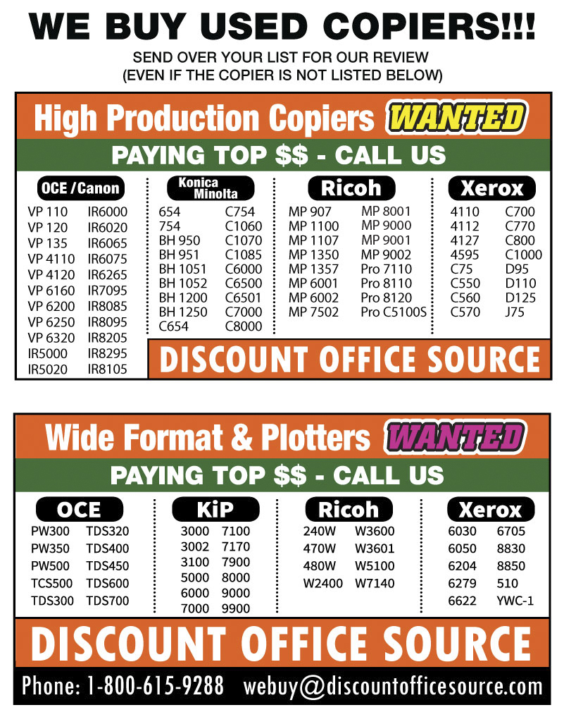 We Buy Copiers and Wide Format Printers